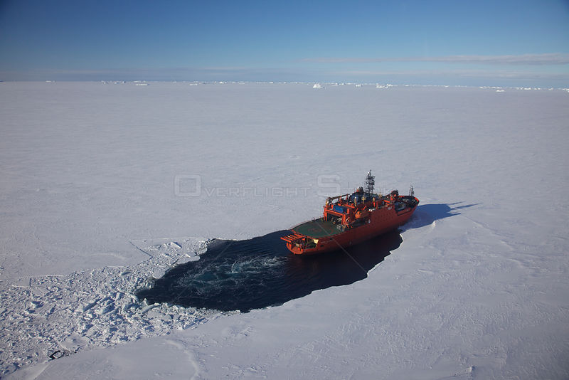Icebreaker 'Aurora Australis' parked in the fast ice 30 miles off Mawson station, Antarctica, March 2011.