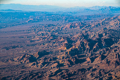 Aerial view of rock formations in the Mojave Desert, CA, USA