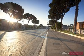 Road leading to the  Colosseum, Rome, Italy