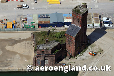 aerial photograph of the Hydraulic Engine House at Bramley Moore Dock, Liverpool
