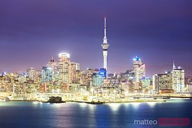 Auckland city waterfront at dusk, New Zealand