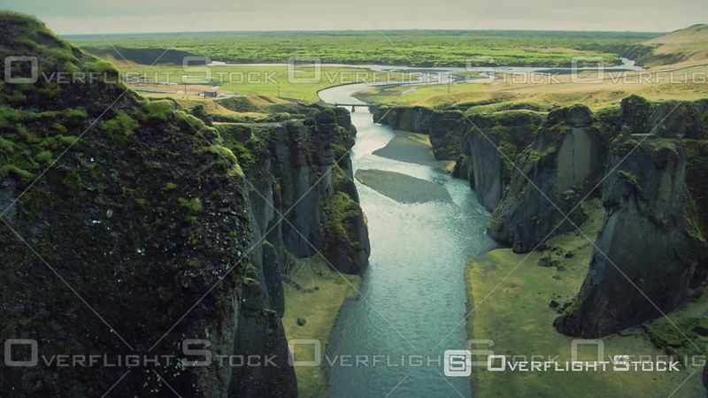 Beautiful River Coming Out from Canyon to Sea, Skaftarhreppur, Iceland, Filmed by Drone
