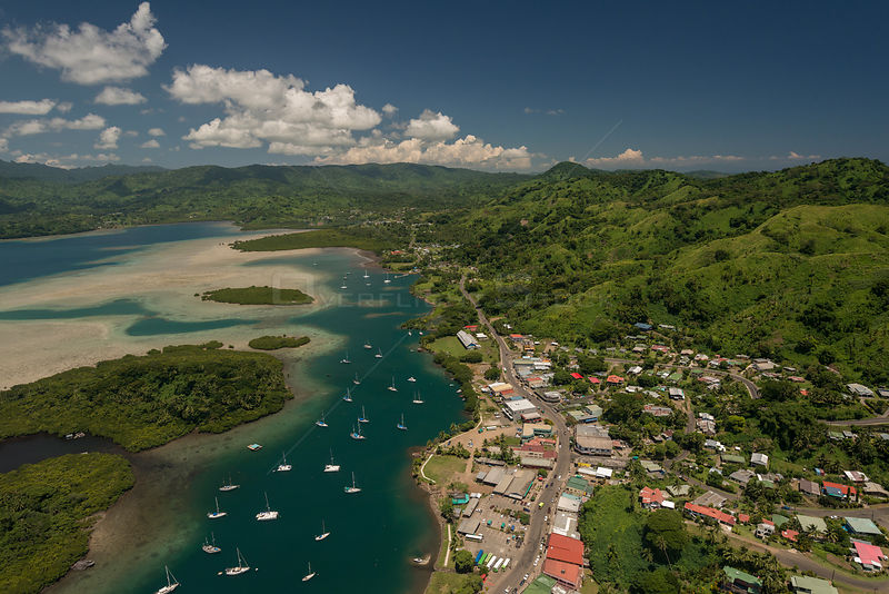 Aerial view of Yachts docked in Savusavu. Cakaudrove, Northern Division, Vanua Levu, Fiji. December 2013.