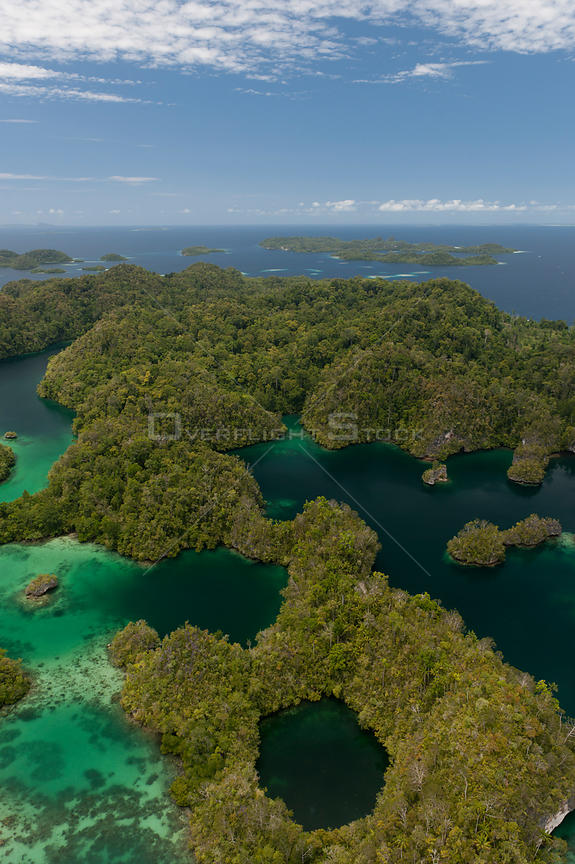 Aerial view of Raja Ampat's islands and lagoons. West Papua, Indonesia, February 2010