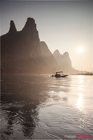 Sunrise over the peaks, Li river, Guilin, China