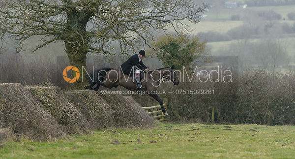 William Bell jumping a hedge at Leicester Lane
