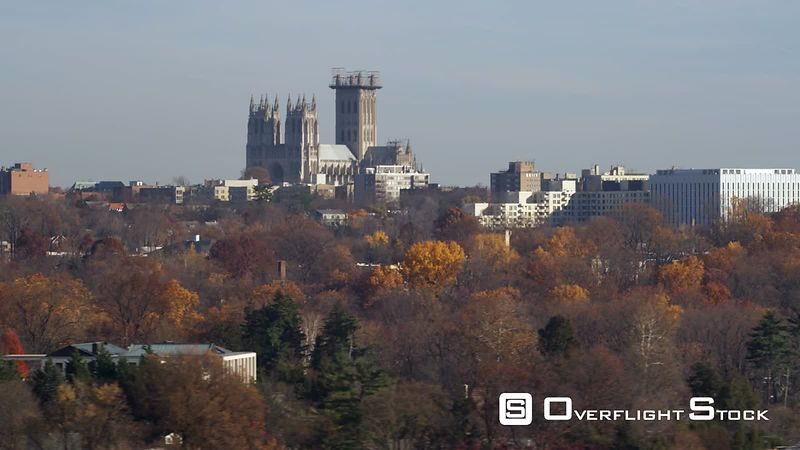 Flying Past Washington National Cathedral in Autumn. Shot in November