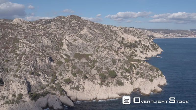 Aerial view of a train viaduct at Calanque de La Vesse , filmed by drone, Le Rove, France