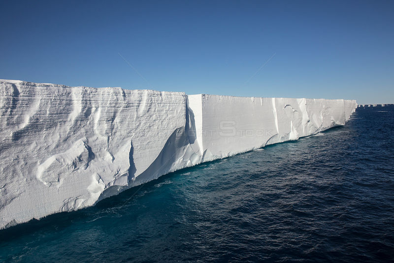 Ross Ice Shelf, the largest ice shelf of Antarctica, near Cape Crozier, Ross Island, Ross Sea, Antarctica