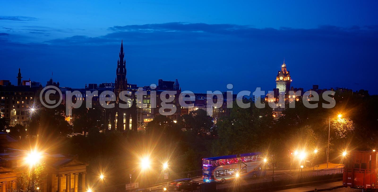 Panorama Across the Centre of Edinburgh at Dusk