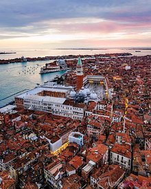 Aerial of St Mark's square at sunset, Venice