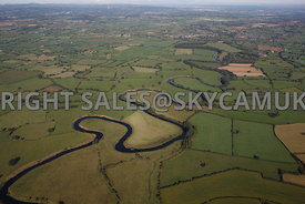 River Dee aerial photograph showing the river meandering across the Cheshire landscape