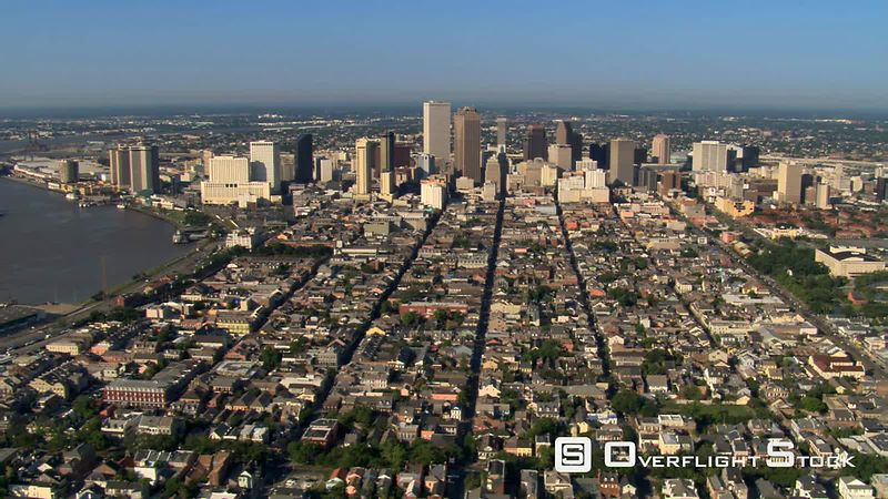 Wide flight past downtown New Orleans.