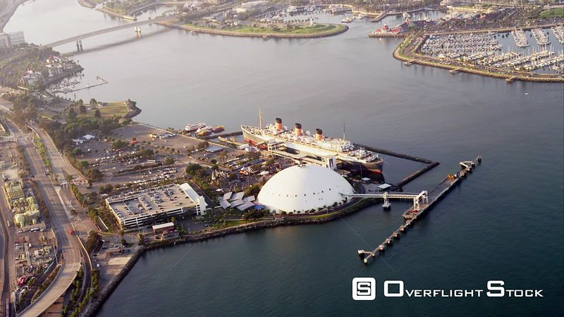 Aerial View Of Ocean Liner Queen Mary, RED R3D 4k California