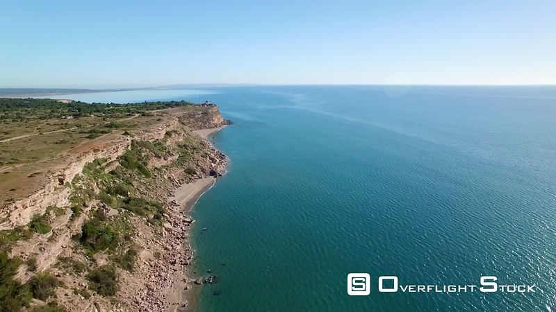 Aerial view Leucate Cliff, filmed by drone, France
