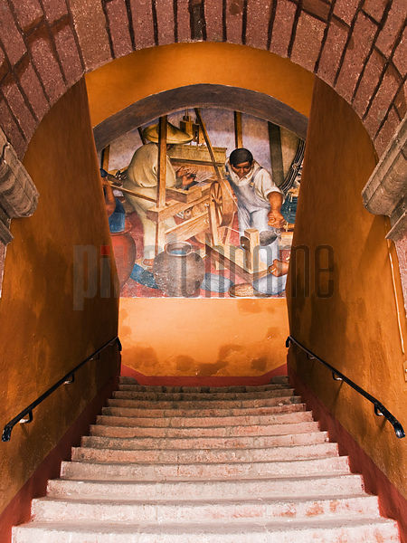 Stairway at the Bellas Artes Building with frescoes in the style of Diego Rivera