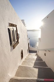 Typical steps downhill in small greek village Santorini Greece