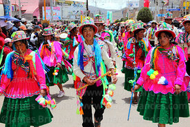 Dancers from Lampa village wearing traditional dress , Virgen de la Candelaria festival, Puno, Peru
