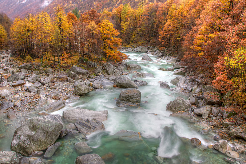 Landscape of the Verzasca River in autumn, Canton Tessin, Switzerland, November 2011. Taken for the Freshwater Project.