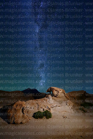 Eroded volcanic rock formations, Cerro Cañapa volcano and Milky Way, Nor Lípez Province, Bolivia