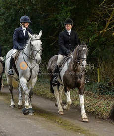 Juliet Packe-Drury-Lowe leaving the Cottesmore Hunt meet at Little Dalby Hall