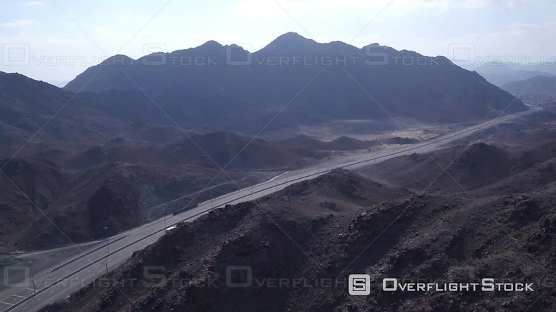 Road and Mountains of Djebel Ali, Filmed by Drone, United Arab Emirates