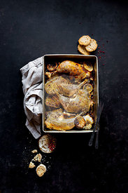 Roast Chicken Legs with sliced garlic