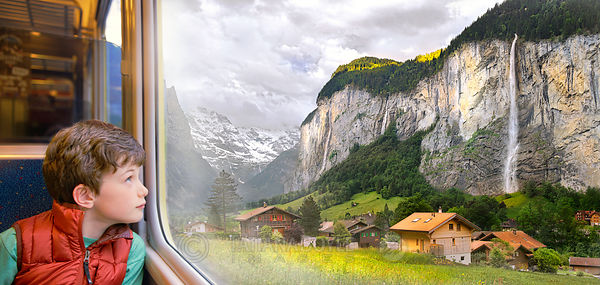 View on Lauterbrunnen Valley from train window; Bern, Switzerland