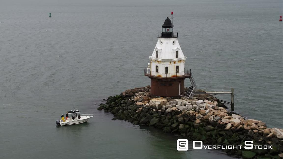 Orbiting Lighthouse at End of Jetty in New Haven, Connecticut. Shot in November