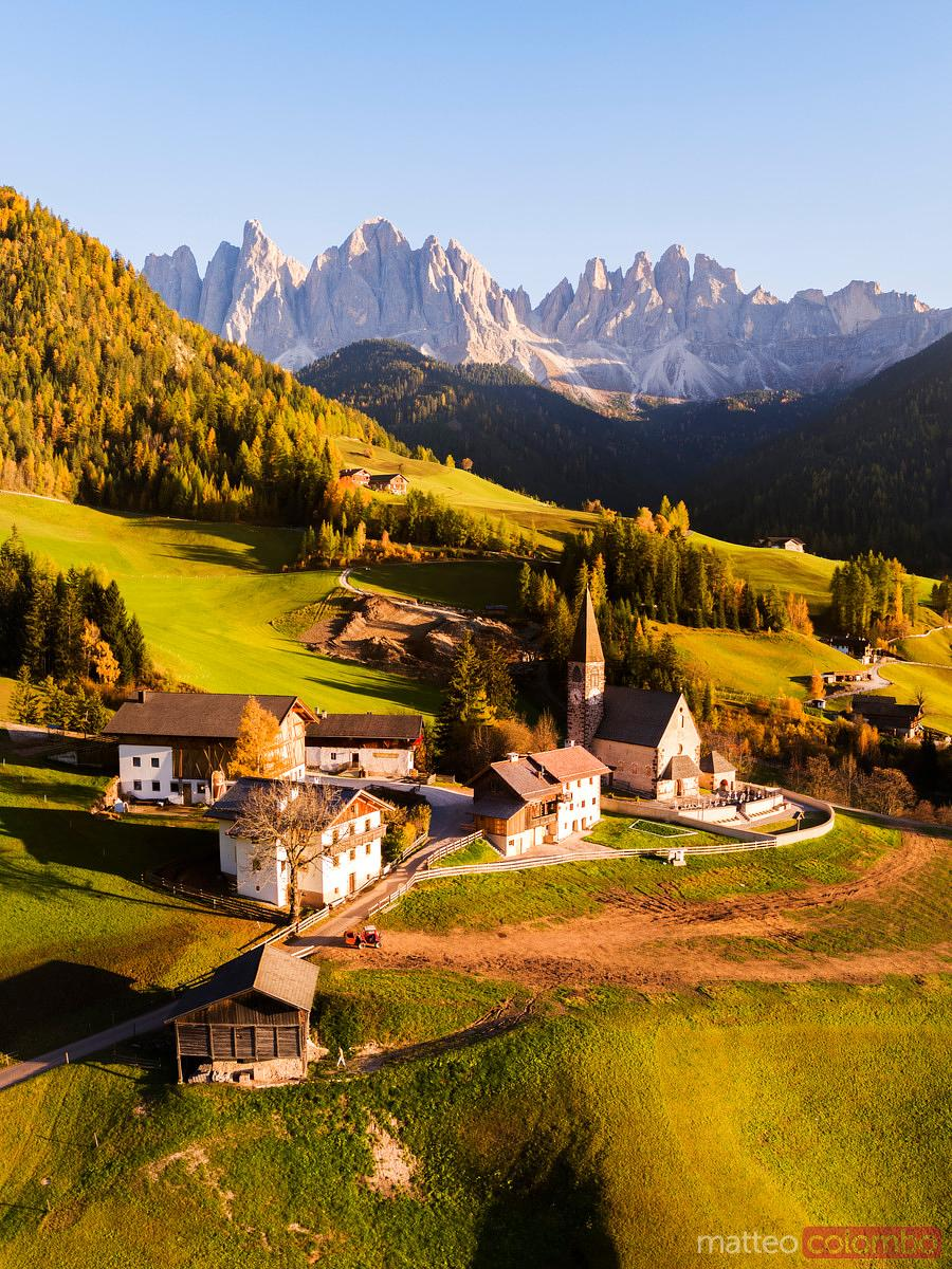 Aerial view of small town in autumn, Dolomites, Italy
