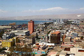View over city centre from below El Morro headland, Arica, Region XV, Chile