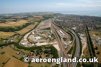 aerial photograph of the Eurotunnel entrance at Folkstone  Kent England UK