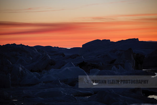 Late evening light on the Ilulissat icebergs