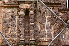 Detail of upper left side of main entrance facade of Santa Cruz of Jerusalem church, Juli, Puno Region, Peru