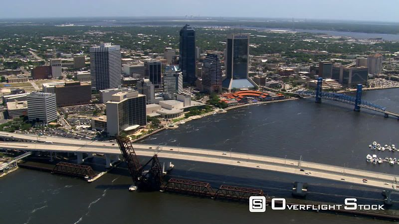 Orbital flight with views of Jacksonville, Florida waterfront.