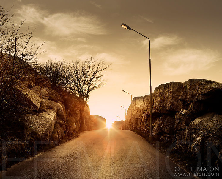 Sunset on road