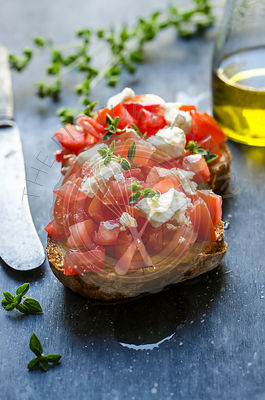 Bruschetta with fresh tomatoes, feta and oregano
