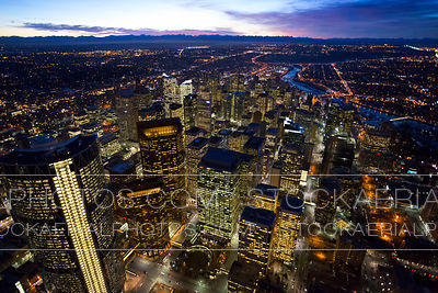 Calgary Aerial Photo at Night