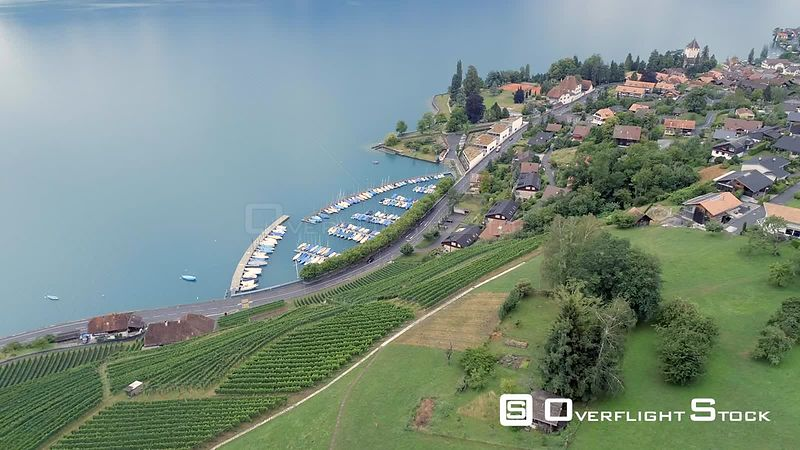 Oberhofen Village on Thunersee Lake Switzerland