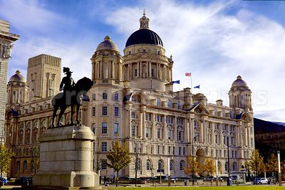 The Port of Liverpool Building  with the Edward VII Statue in the foreground