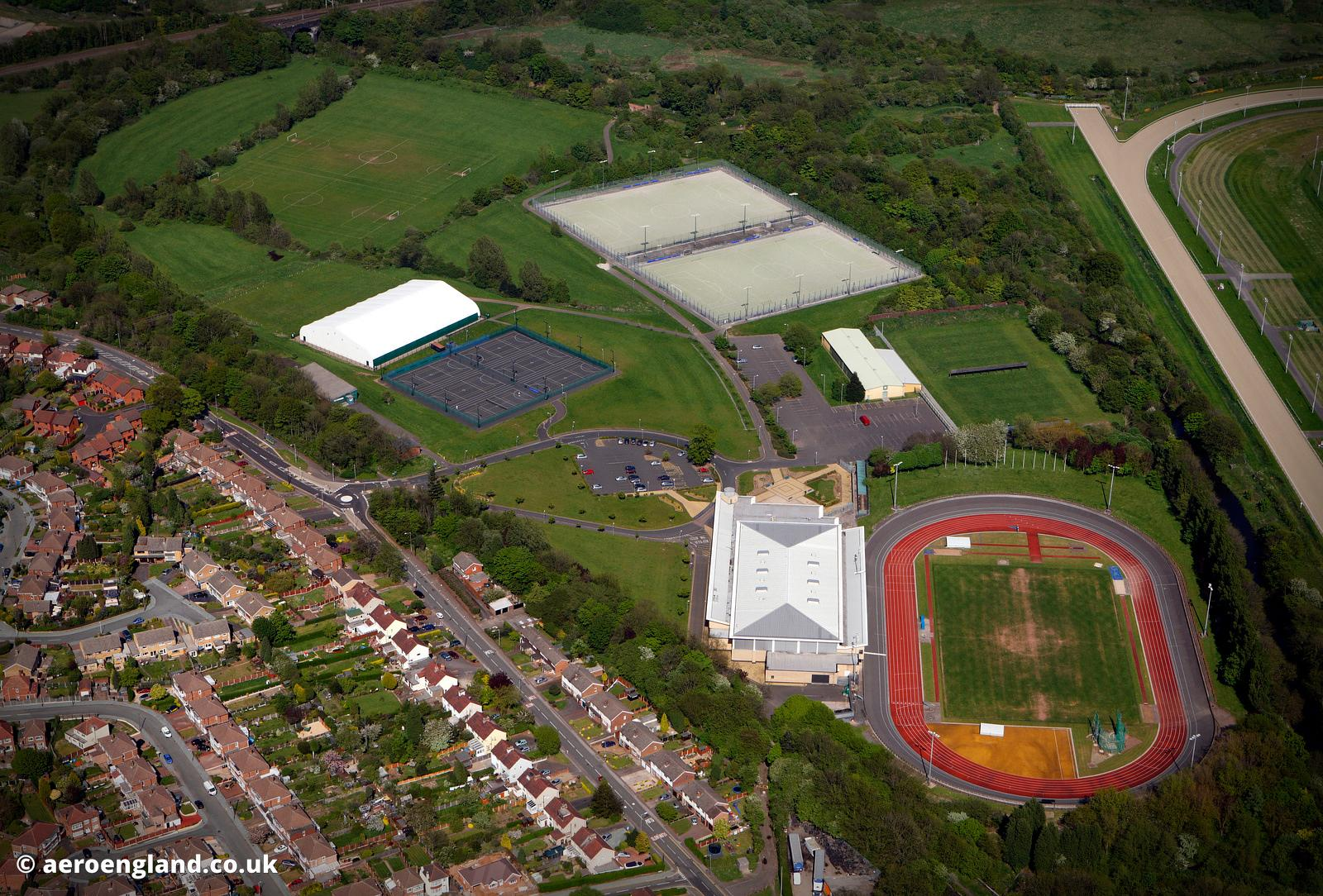 aerial photo of Aldersley Stadium in Wolverhampton UK
