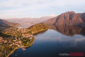 Aerial view of sunset on lake Como, Lombardy, Italy