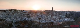 Panoramic of Sassi di Matera at sunset, Matera, Basilicata, Italy