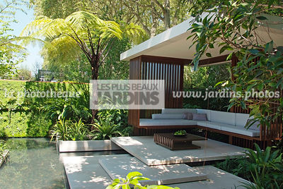 Aquatic garden, Asiatic garden, Contemporary furniture, Contemporary garden, Exotic garden, Garden construction, Garden furniture, Resting area, Terrace, Tropical garden, Contemporary Terrace, Malaysian garden, Tree Fern