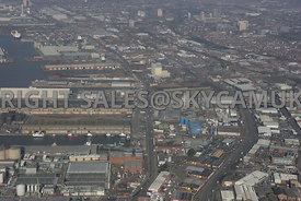 Liverpool view looking down Regent and Derby road and the area of the Docklands and Industrial areas behind the docks.Bootle