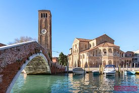 Canal and church in Murano, Venice, Italy