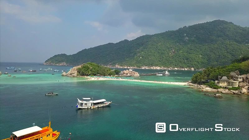 Nangyuan Island Beach Drone Video Ko Tao, Ko Phangan District, Surat Thani, Thailand