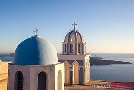 Famous blue domed church overlooking the sea, Santorini, Greece