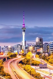 Auckland city financial centre illuminated at dusk, New Zealand