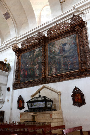 Original oil paintings showings scenes of life of San Santiago in church of Santiago the Apostle / Immaculate Conception, Lampa, Peru